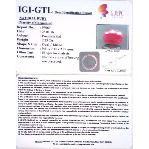 2.48 Ratti Natural Mozambique Ruby with Govt. Lab Certificate-(15000)