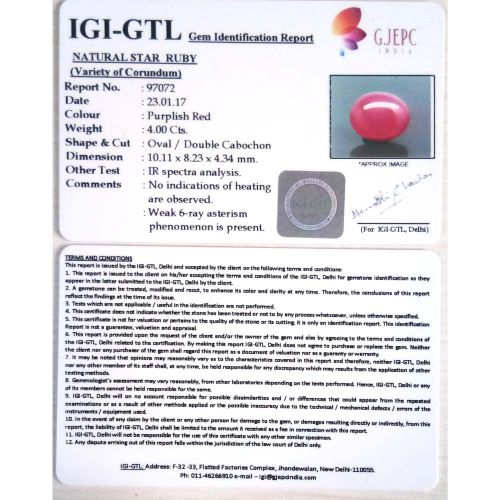 4.44 Ratti Natural Mozambique Ruby with Govt. Lab Certificate-(23310)