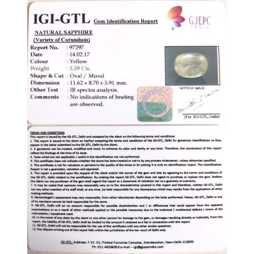 6.21 Ratti  Natural yellow sapphire with Govt Lab Certificate-(15000)