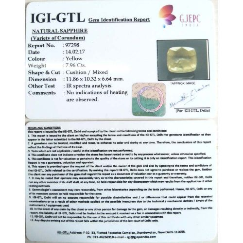 8.84 Ratti  Natural yellow sapphire with Govt Lab Certificate-(11000)