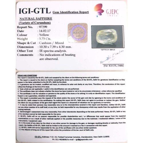 4.14 Ratti  Natural yellow sapphire with Govt Lab Certificate-(23310)