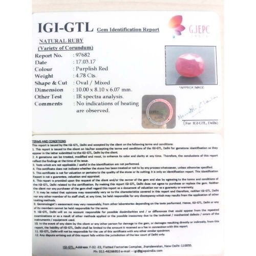 5.31 Ratti Natural Mozambique Ruby with Govt. Lab Certificate-(21000)