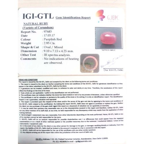 3.26 Ratti Natural Mozambique Ruby with Govt. Lab Certificate-(11000)
