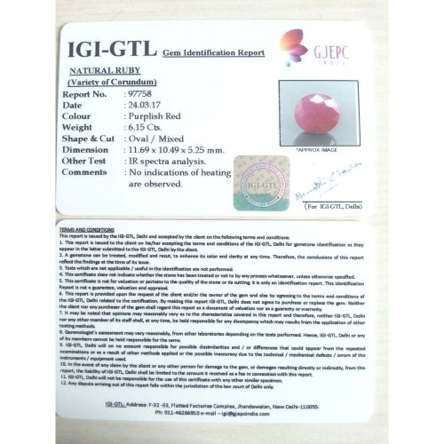 6.83 Ratti Natural Mozambique Ruby with Govt. Lab Certificate-(21000)