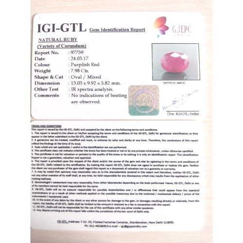 8.87 Ratti Natural Mozambique Ruby with Govt. Lab Certificate-(21000)