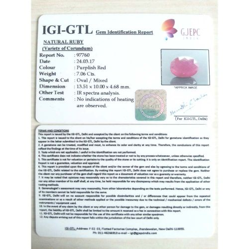 7.84 Ratti Natural Mozambique Ruby with Govt. Lab Certificate-(21000)
