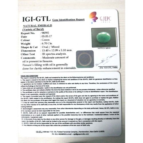 7.44 Ratti NATURAL Panna Stone with Govt Lab Certified-(4100)