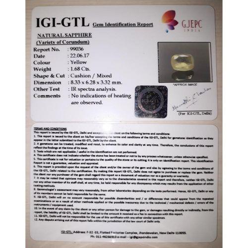 1.87 Ratti Pukhraj Stone with Govt Lab Certificate-(8100)