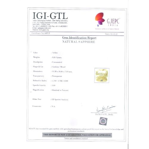 9.79 Ratti Natural yellow sapphire with Govt Lab Certificate-(67710)