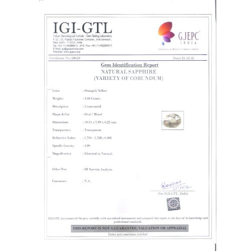5.42  Ratti Natural yellow sapphire with Govt Lab Certificate-(34410)
