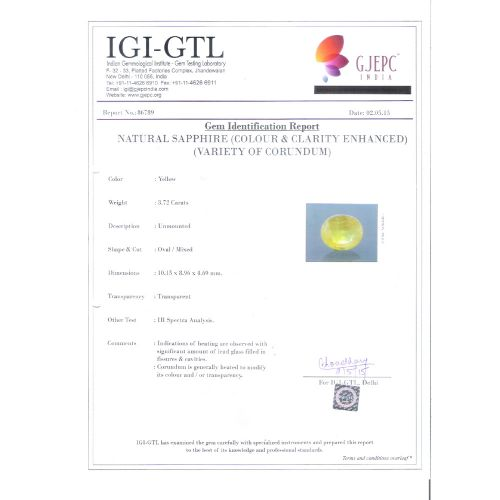 4.13 Ratti Natural yellow sapphire with Govt Lab Certificate