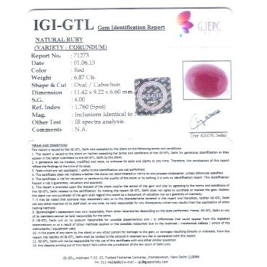 7.63 Ratti Natural New Burma Ruby with Govt. Lab Certificate-(12210)
