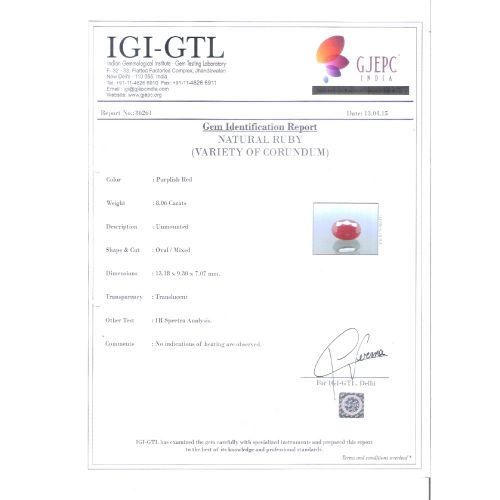 8.96  Ratti Natural New Burma Ruby with Govt. Lab Certificate-(3441)